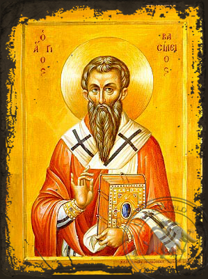 Saint Basil the Great, Archbishop of Caesarea, Cappadocia - Aged Byzantine Icon