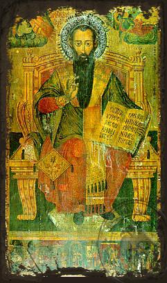 Saint Basil the Great, Archbishop of Caesarea, Cappadocia, Enthroned - Aged Byzantine Icon