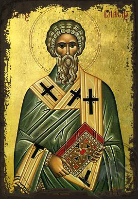 Saint Blaise - Aged Byzantine Icon
