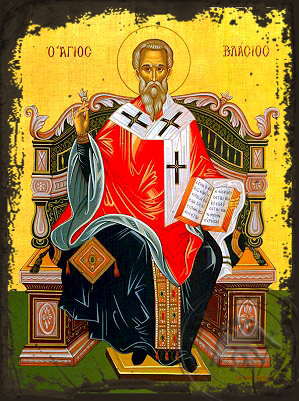 Saint Blaise, Hieromartyr, Bishop of Sebaste, Enthroned - Aged Byzantine Icon