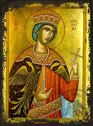 Saint Catherine - Aged Byzantine Icon