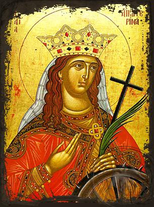 Saint Catherine the Great Martyr, of Alexandria - Aged Byzantine Icon