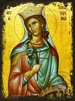 Saint Catherine the Great Martyr, of Alexandria - Aged Byzantine Icon