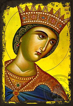 Saint Catherine the Great Martyr, of Alexandria, Bust - Aged Byzantine Icon