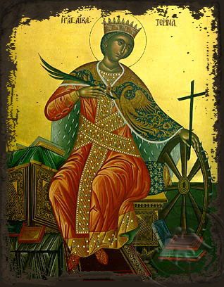 Saint Catherine the Great Martyr, of Alexandria, Enthroned - Aged Byzantine Icon