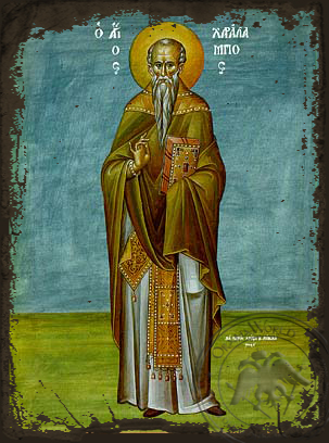 Saint Charalampus, Hieromartyr, Bishop of Magnesia, Greece, Full Body - Aged Byzantine Icon