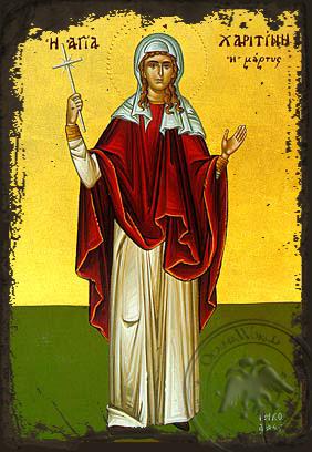 Saint Charitine - Aged Byzantine Icon