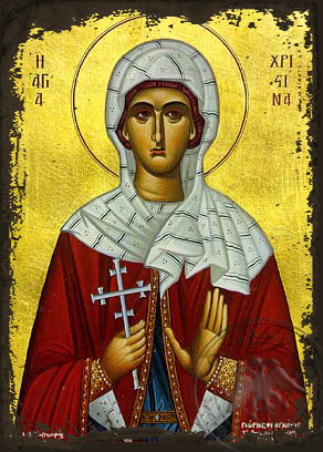Saint Christina, the Great Martyr, of Tyre - Aged Byzantine Icon