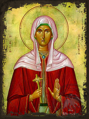 Saint Christine - Aged Byzantine Icon
