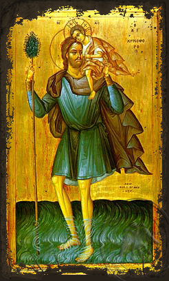 Saint Christopher, the Great Martyr, Full Body - Aged Byzantine Icon