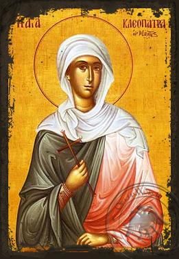 Saint Cleopatra, Virgin-Martyr - Aged Byzantine Icon