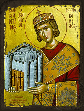 Saint Constantine the Great - Aged Byzantine Icon