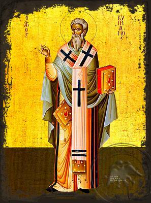 Saint Cyprian, Hieromartyr, Bishop of Carthago, Full Body - Aged Byzantine Icon