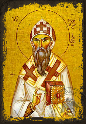 Saint Cyril of Alexandria - Aged Byzantine Icon