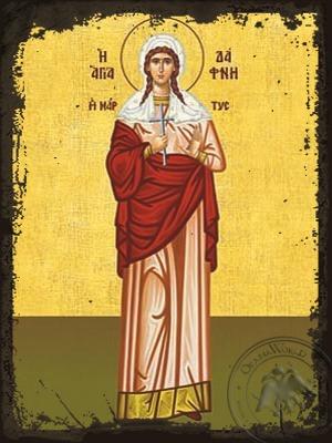 Saint Daphne Martyr Full Body - Aged Byzantine Icon