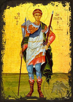 Saint Demetrius the Myrrh-Gusher, Full Body - Aged Byzantine Icon