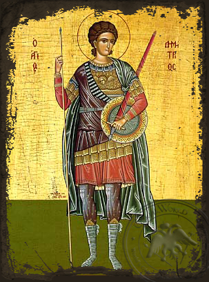 Saint Demetrius the Myrrh-Gusher, Full Body - Aged Byzantine Icon