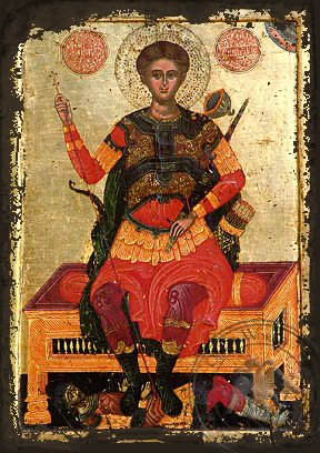 Saint Demetrius the Myrrh-Gusher, Enthroned - Aged Byzantine Icon