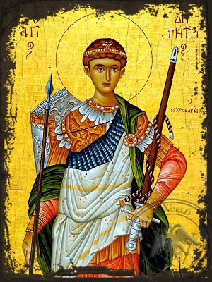 Saint Demetrius the Myrrh-Gusher, Half - Aged Byzantine Icon
