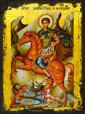 Saint Demetrius the Myrrh-Gusher, on Horseback - Aged Byzantine Icon
