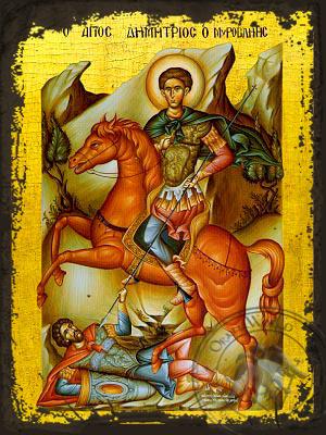Saint Demetrius the Myrrh-Gusher, on Horseback - Aged Byzantine Icon