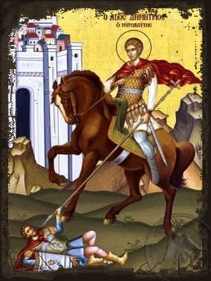 Saint Demetrius the Myrrh-Gusher on Horseback - Aged Byzantine Icon