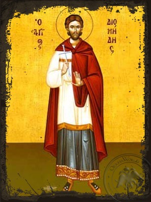 Saint Diomedes the Physician of Tarsus in Cilicia Martyr Full Body - Aged Byzantine Icon
