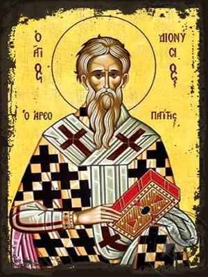 Saint Dionysios Hieromartyr the Areopagite of Athens Greece - Aged Byzantine Icon