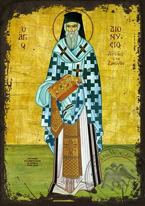Saint Dionysius of Zante, Greece, Bishop of Aegina, Full Body - Aged Byzantine Icon