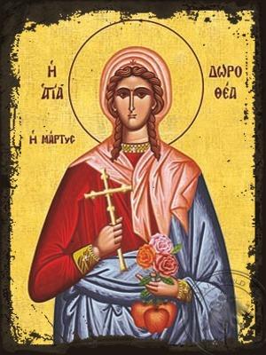 Saint Dorothea of Caesarea Virgin Martyr - Aged Byzantine Icon