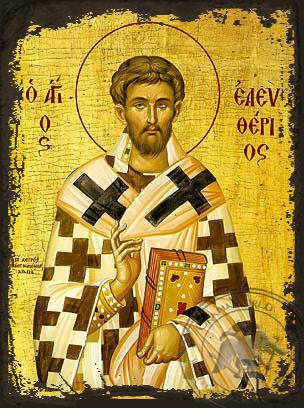 Saint Eleutherios - Aged Byzantine Icon