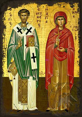 Saint Eleutherios and Anthia, His Mother - Aged Byzantine Icon