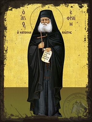 Saint Ephraim of Katounakia Mount Athos Full Body - Aged Byzantine Icon
