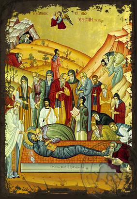 Saint Ephraim the Syrian, Repose - Aged Byzantine Icon
