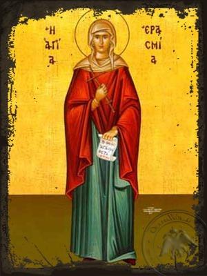 Saint Erasmia Martyr Full Body - Aged Byzantine Icon