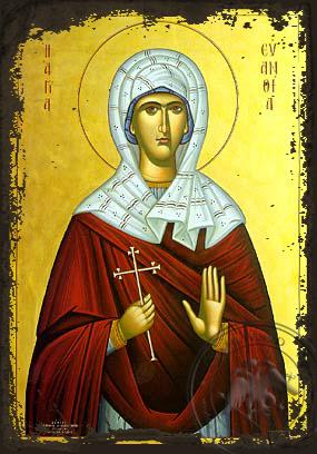 Saint Euanthia - Aged Byzantine Icon