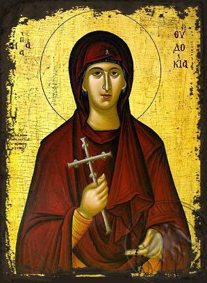 Saint Eudokia - Aged Byzantine Icon