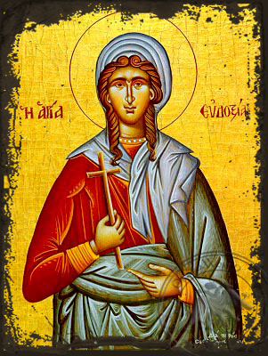 Saint Eudoxia, Martyr, at Canopus in Egypt - Aged Byzantine Icon