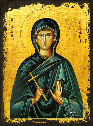 Saint Eugenia - Aged Byzantine Icon