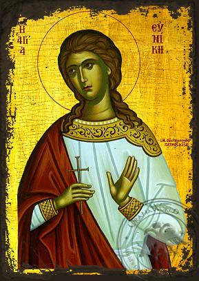 Saint Eunike - Aged Byzantine Icon