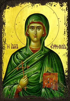 Saint Euphemia - Aged Byzantine Icon