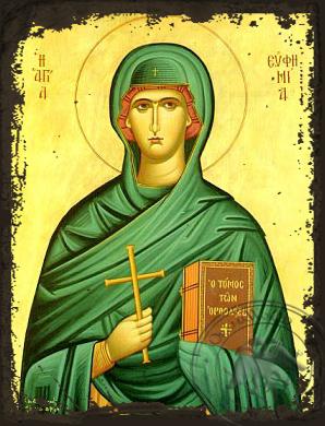 Saint Euphemia, the Great Martyr - Aged Byzantine Icon