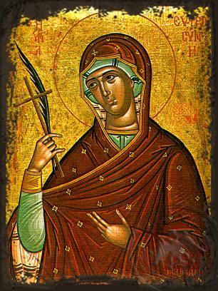 Saint Euphrosyne of Alexandria - Aged Byzantine Icon