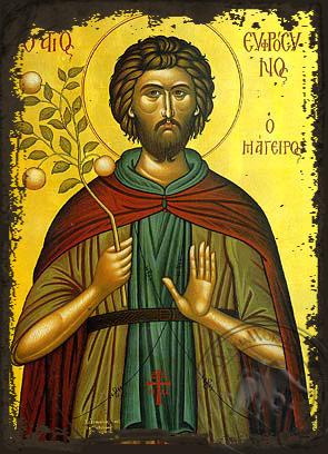 Saint Euphrosynos the Cooker - Aged Byzantine Icon