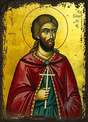 Saint Euprepios - Aged Byzantine Icon