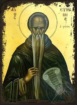 Saint Euthymius, the Great - Aged Byzantine Icon