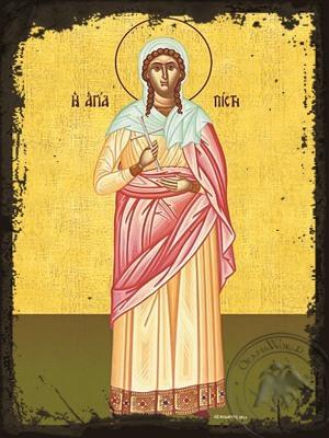 Saint Faith Daughter of Saint Sophia Full Body - Aged Byzantine Icon