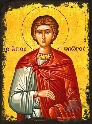 Saint Florus of Illyria, Martyr - Aged Byzantine Icon
