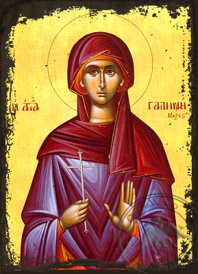 Saint Galina - Aged Byzantine Icon