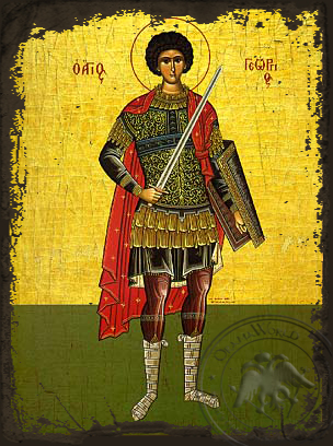 Saint George the Great Martyr, Full Body - Aged Byzantine Icon